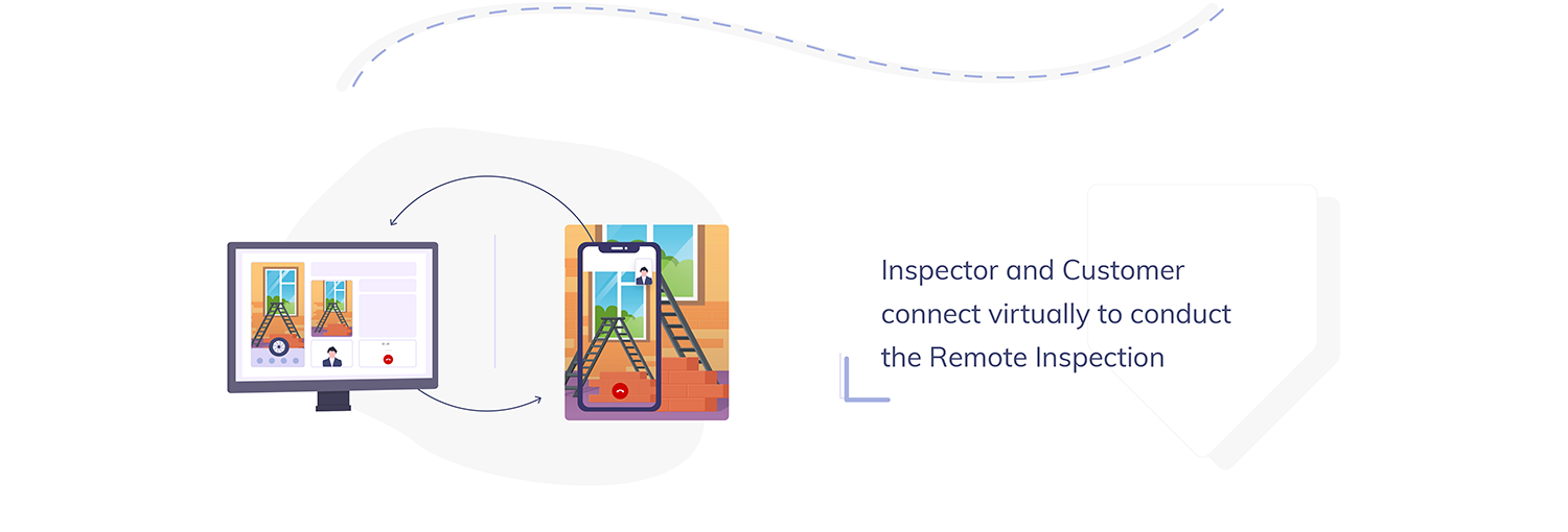 Inspector and Customer connect virtually to conduct the Remote Inspection